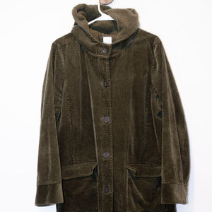 J. Jill Heritage Tumbled Cord Hooded Coat Green